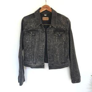 Levi's Black Denim Jacket w| White Splatter Detail
